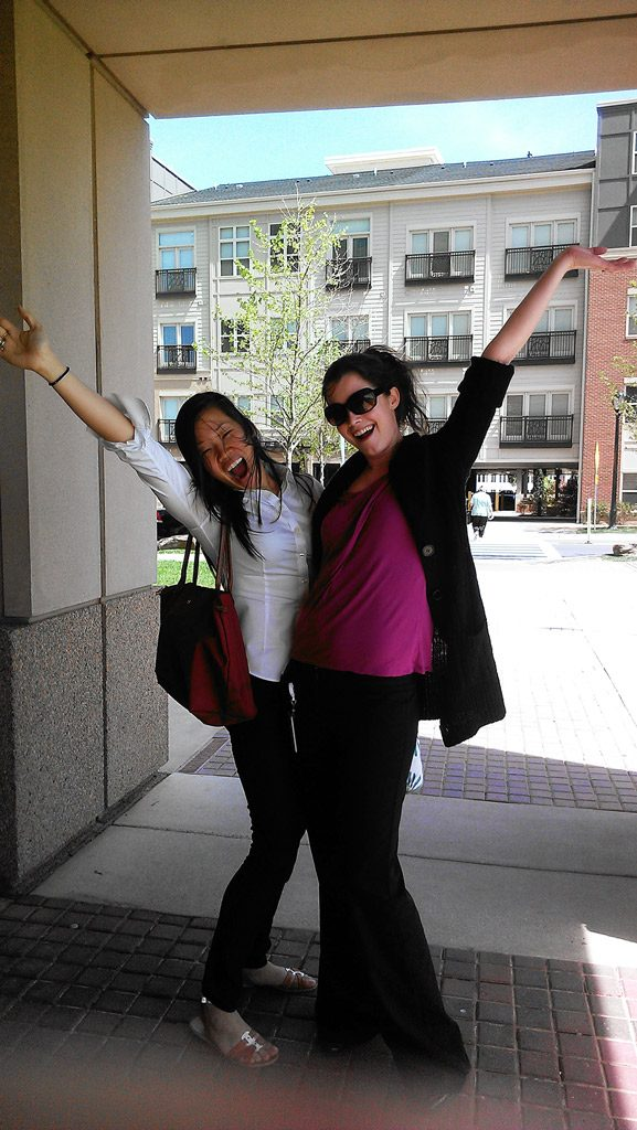 Erin and Kait celebrate end of internship.
