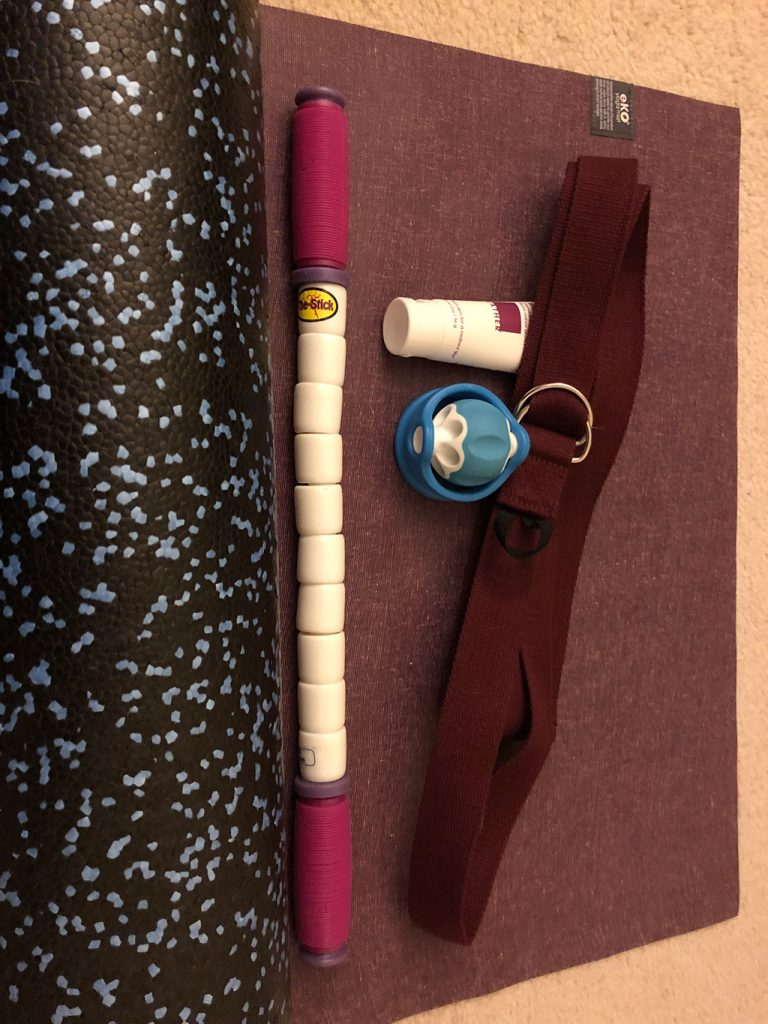 New Yoga strap  & mat, extra firm foam roller, The Stick, Lather-Muscle Ease Gel, & Addaday Roller