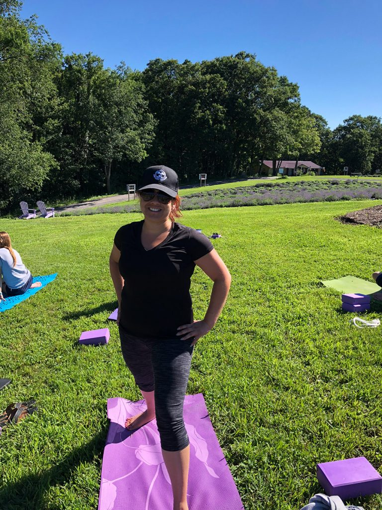 Lavender field yoga near Deep Creek Lake in Maryland.