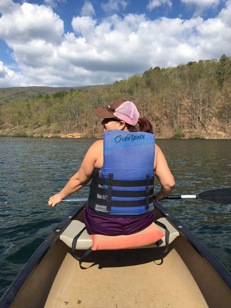 Wendie rowing in Lake Douthat in Virginia.