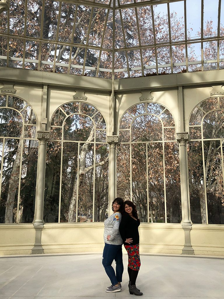 Wendie and Monika at Palacio de Cristal in Retiro Park.