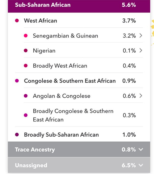 Wendie's 23 and Me DNA Heritage Testing Results- not surprisingly included Sub-Saharan African DNA