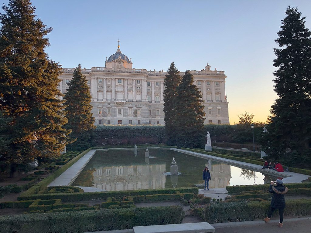 Back of Palacio Real at sunset.