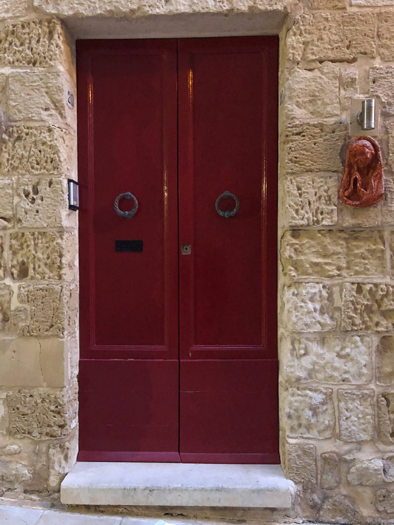 Red door in Valetta Malta