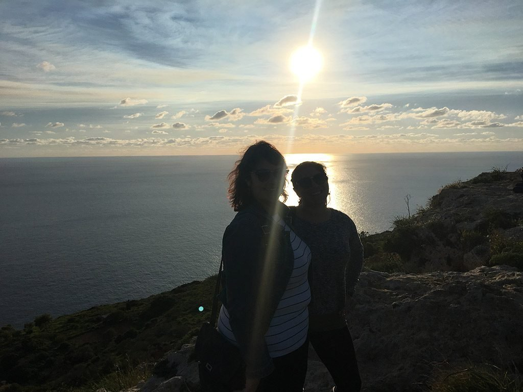 Wendie and Monika at Dingli Cliffs at sunset