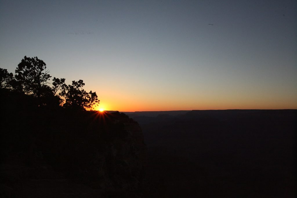 Sun setting over the Grand Canyon