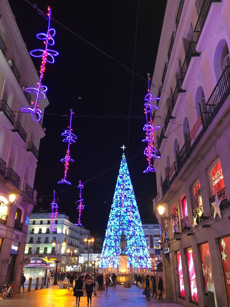 Streets of Madrid at night during the holidays.